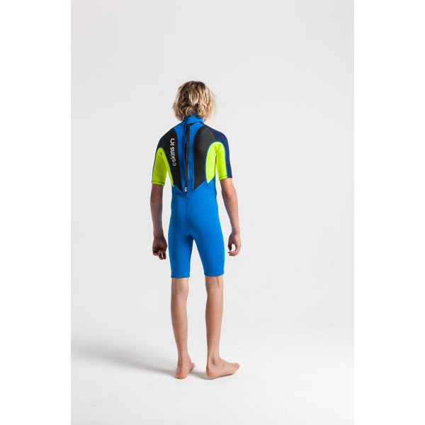 C-Skins Element 3/2 Tiny Tots Peuter Wetsuit Shorty Cyan/Yellow/Navy