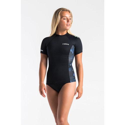 C-Skins C-Skins Dames Lycra Short Sleeve RavenBlack/Unity/GreenAsh