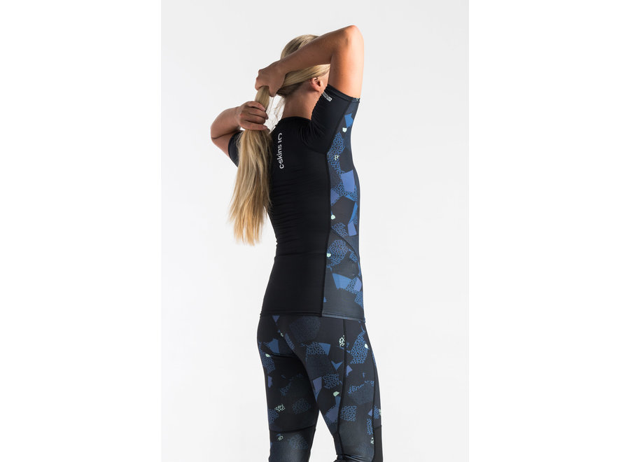 C-Skins Dames Lycra Short Sleeve RavenBlack/Unity/GreenAsh
