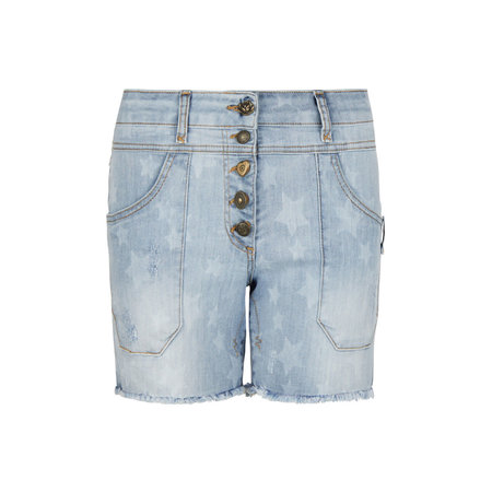 Isla Ibiza Isla Ibiza Dames Shorts With Stars Denim Blue