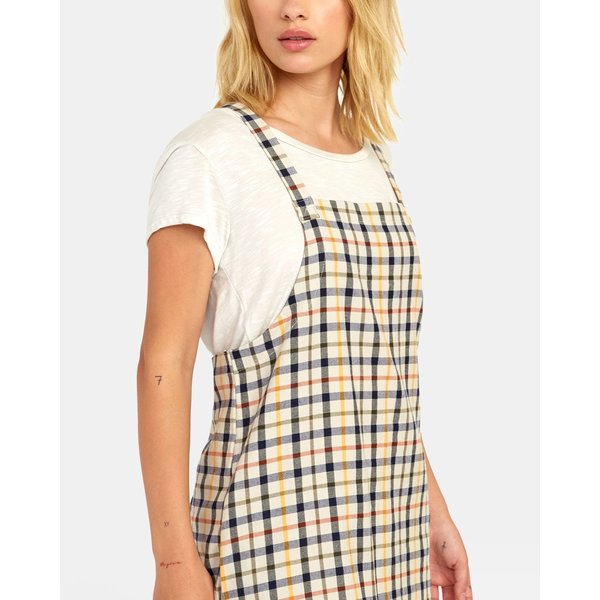 RVCA Dames Allen Plaid Dress Oatmeal
