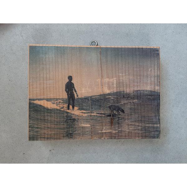 SurfArt Surfer With Dog Woodblock