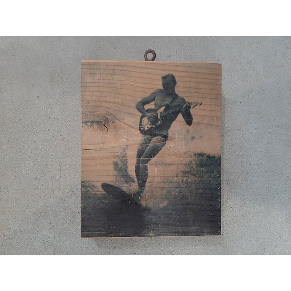 SurfArt Surfer With Guitar Woodblock
