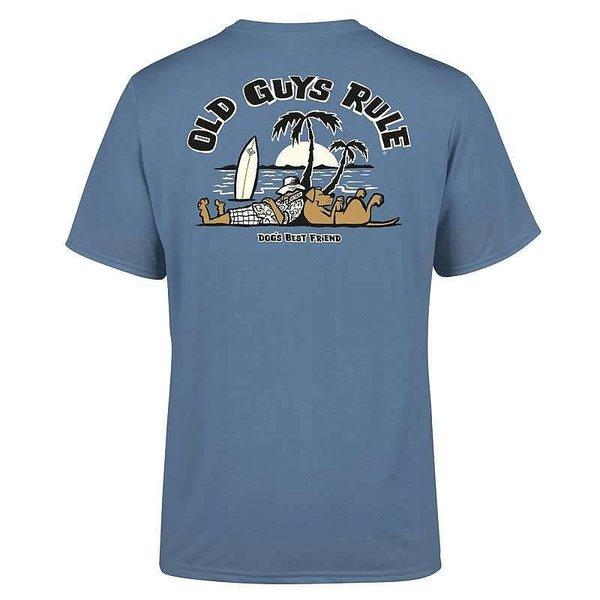 Old Guys Rule Heren Dogs Best Friend 2 Tee Indigo Blue