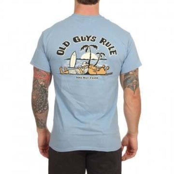 Old Guys Rule Heren Dogs Best Friend 2 Tee Stone Blue