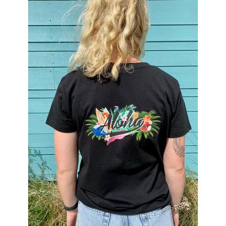 Aloha Surf Aloha Dames Club T-Shirt Zwart