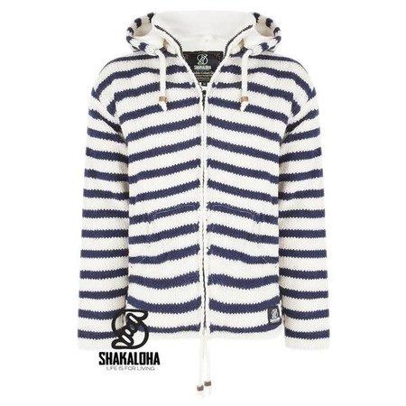Shakaloha Shakaloha Split Zip Hoodie White Navy