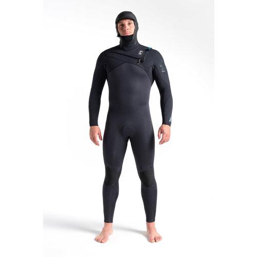 C-Skins C-Skins Rewired 5/4 Heren Wetsuit Hooded Meteor/BlackX/UltraCyan