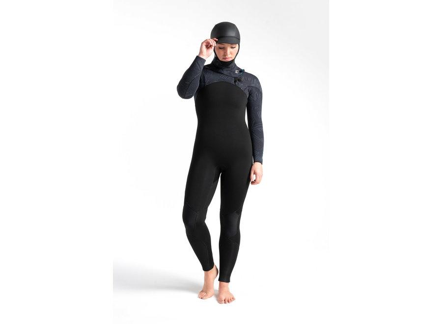 C-Skins ReWired 6/5 Women's Hooded Wetsuit Black/Black X Shade/Ultra Cyan