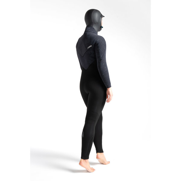 C-Skins ReWired 6/5 Dames Hooded Wetsuit Black/Black X Shade/Ultra Cyan