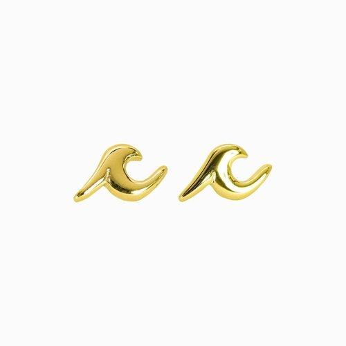 Pura Vida Bracelets Pura Vida Wave Stud Earrings Gold
