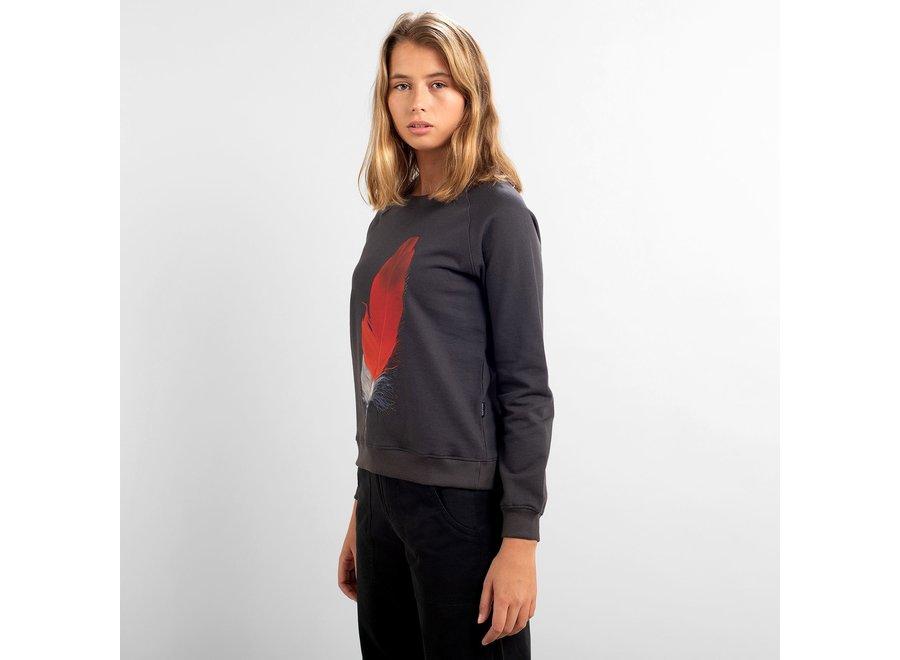 Dedicated Dames Ystad Raglan Sweatshirt Red Feather