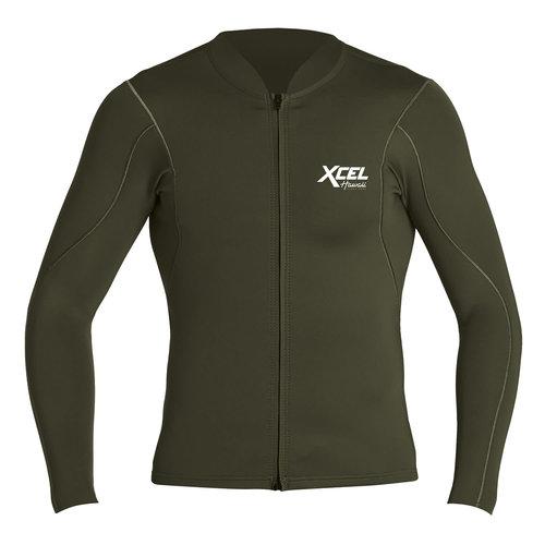 Xcel 1/0.5mm Long Sleeve Front Zip Wetsuit Top Forest Green