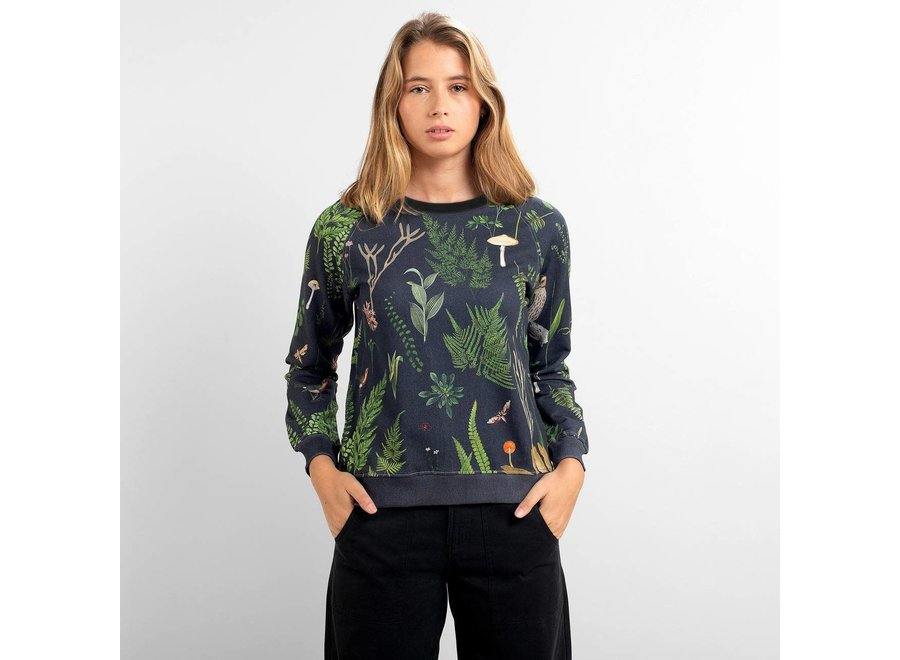 Dedicated Dames Ystad Raglan Sweatshirt Secret Garden Multi Color