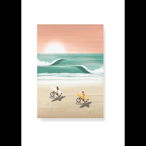 StudioTrev Postcard Cyclists On The Beach By Trevor Humphres