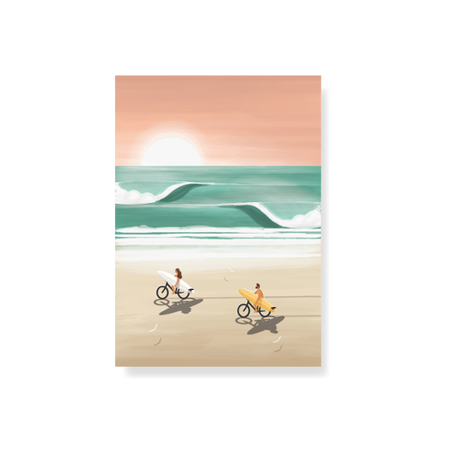 StudioTrev Trevor Humphres Cyclists On The Beach Postcard
