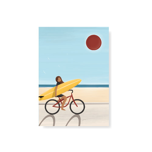 StudioTrev Trevor Humphres Girl On A Bike Postcard