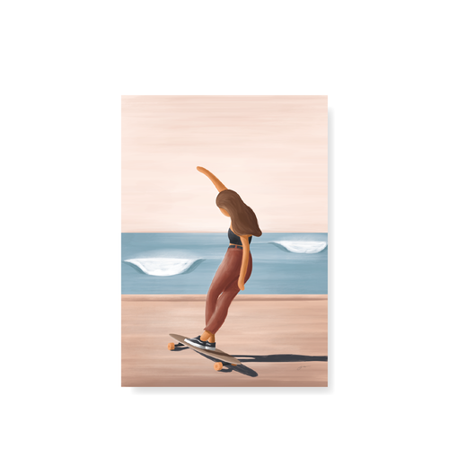StudioTrev Trevor Humphres Postcard Girl On A Longboard Postcard