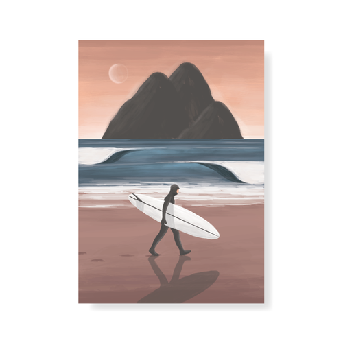 StudioTrev Trevor Humphres Surfer With Mountainous Backdrop Postcard