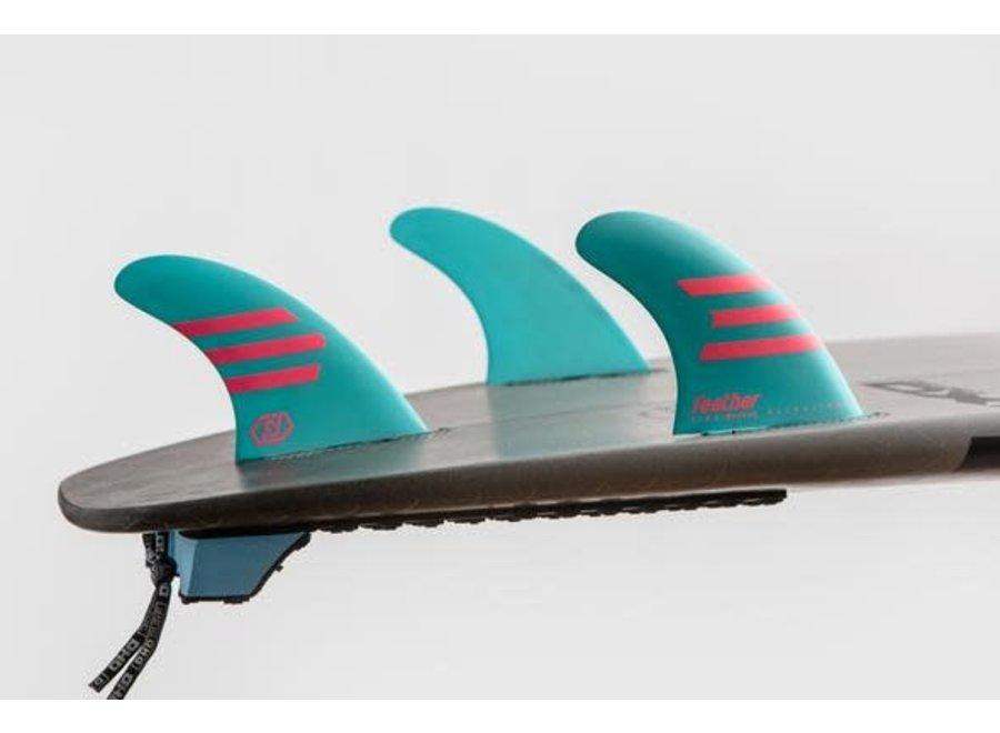 Feather Fins Click Tab Ultralight Epoxy HC Thruster Fins Light Blue