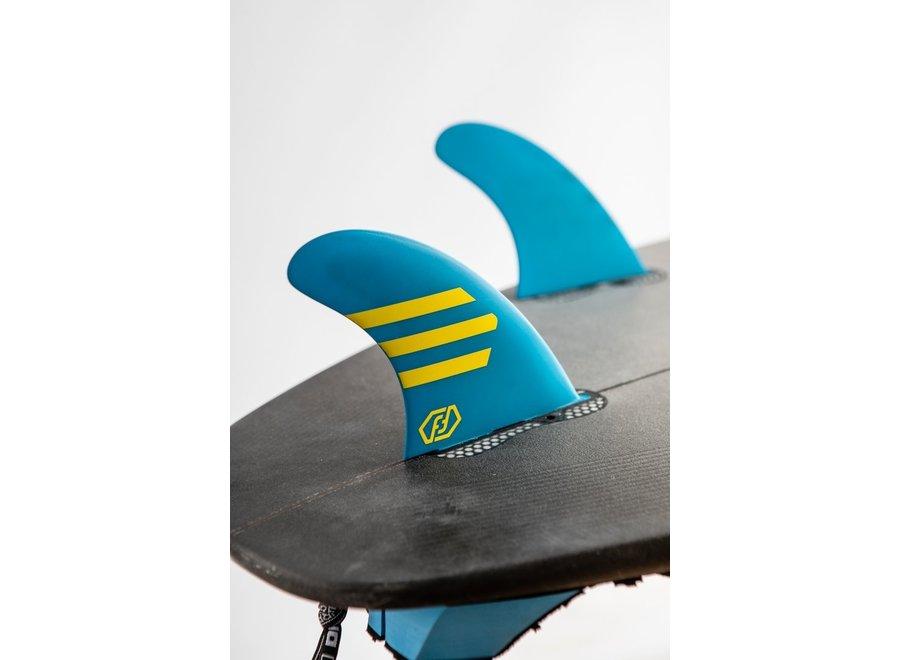 Feather Fins Click Tab Ultralight Epoxy HC Thruster Fins Blue/Yellow