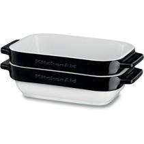 2 Delige set keramische bakvormen-ovenschalen onyx zwart