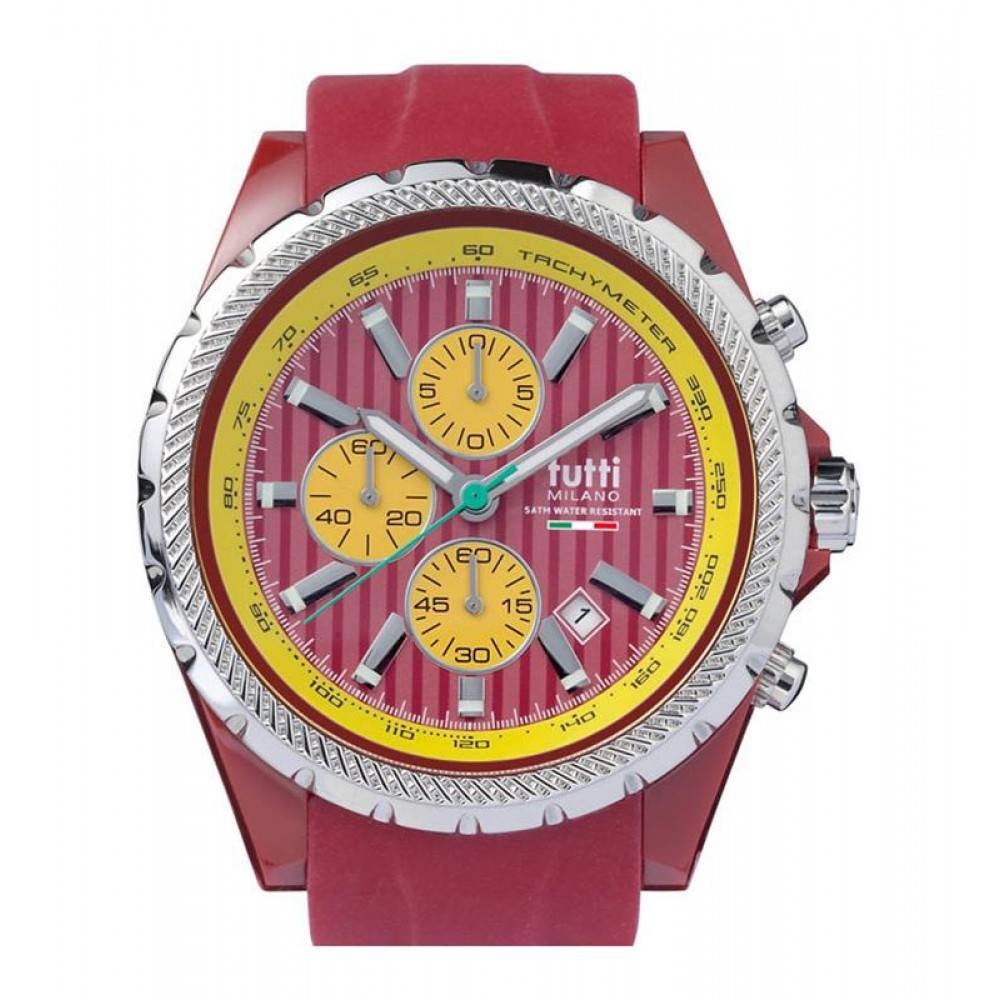 Tutti Milano Meteora Chronograaf Horloge rood TM005 DR