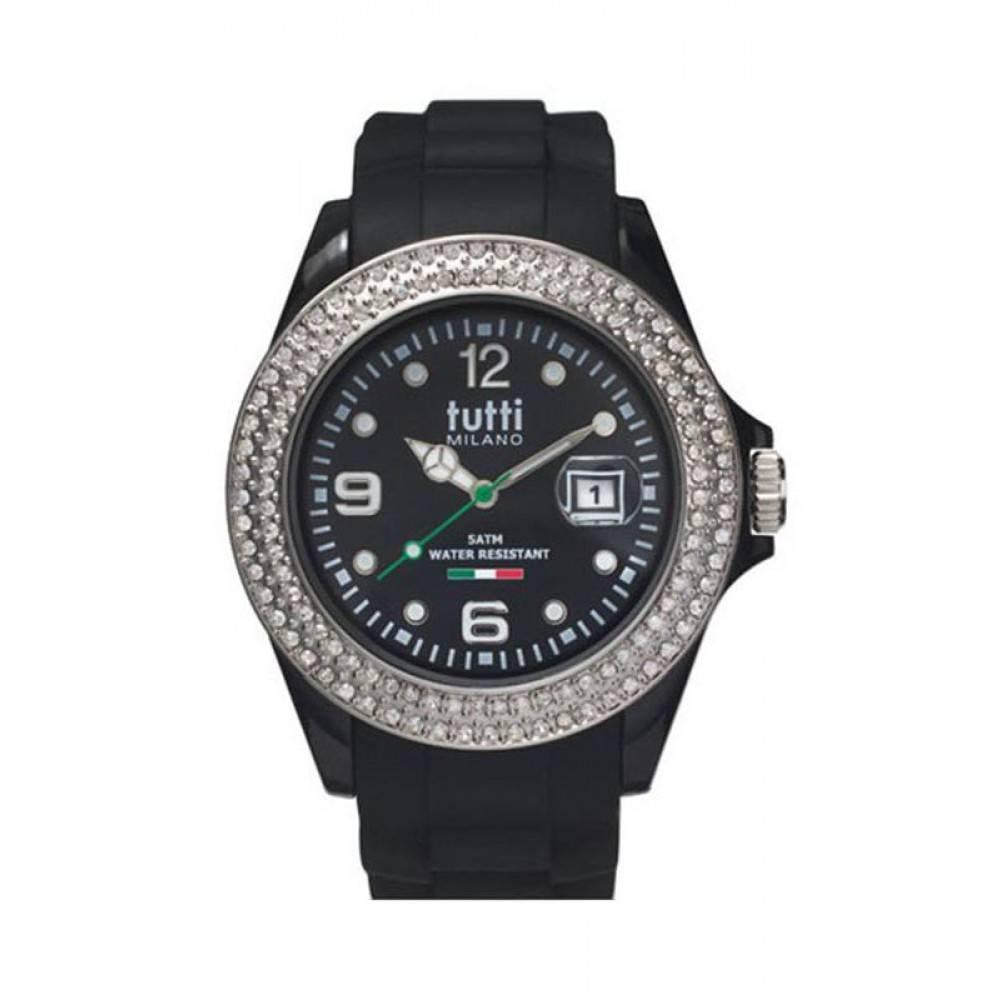 Tutti Milano Cristallo Horloge zwart TM003 NO/ST/Z