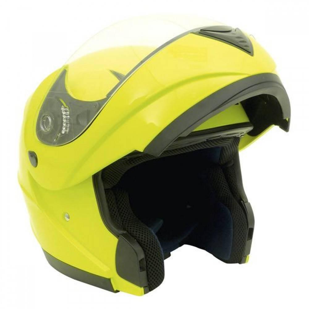 MotorX Flip Up motorhelm fluor geel glanzend L  E9