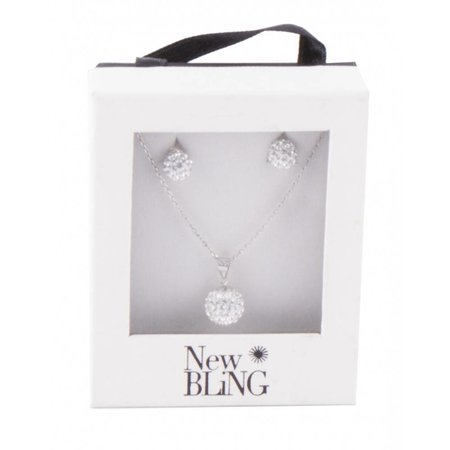 New Bling Zilveren collier met hanger plus zilveren oorbellen 939900050