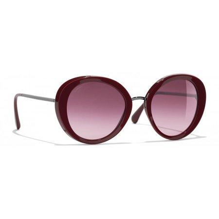 Chanel Ronde zonnebril bordeaux rood 5398