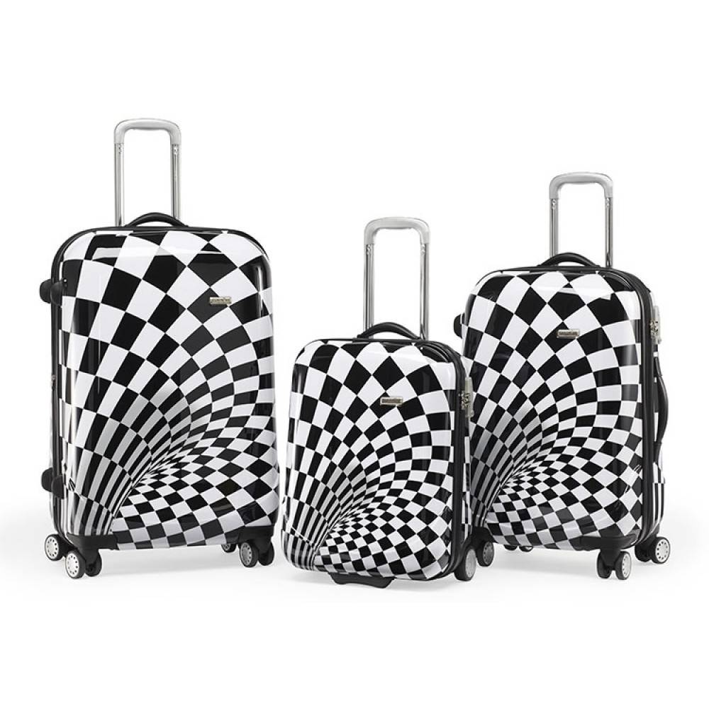 Claymore 3 delige kofferset trolley Black and White WTL 6080/3BW