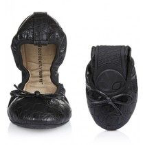 Victoria opvouwbare ballerina black croc