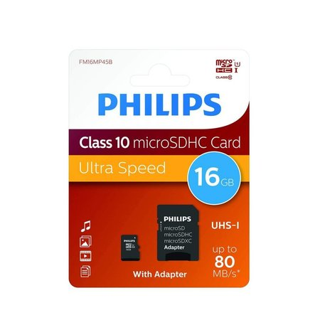 Philips Class 10 micro SDHC 16 GB kaart + adapter FM16MP45B