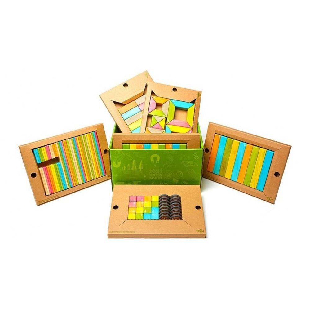 Tegu 130 stuks magnetische houten blokken