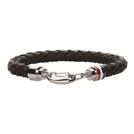 Tommy Hilfiger Lederen heren armband zwart TJ2700510