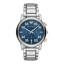 blauwe Sunray Dial & zilver RVS chronograaf mannen horloge