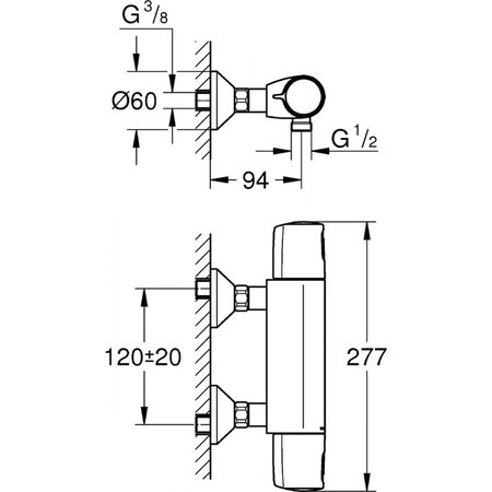Grohe Precision Trend New Thermostatische Douchekraan 12 cm hartafstand 34228002