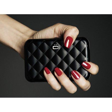 Ögon Designs Dames Creditcardhouder Quilted Button zwarts