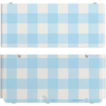 New 3DS Coverplate blauw-wit geblokt