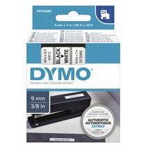 D1 printtape 9 mm x 7 m zwart op wit               40913
