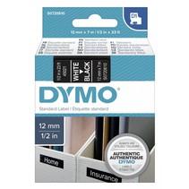D1 Tape Cassette 12 mm x 7m wit op zwart               45021
