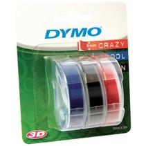 3x1  3D Labeltape 9 mm x 3 m rood/blauw/zwart