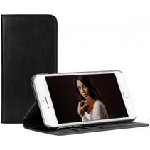 Leather Wallet iPhone 6 Plus, zwart