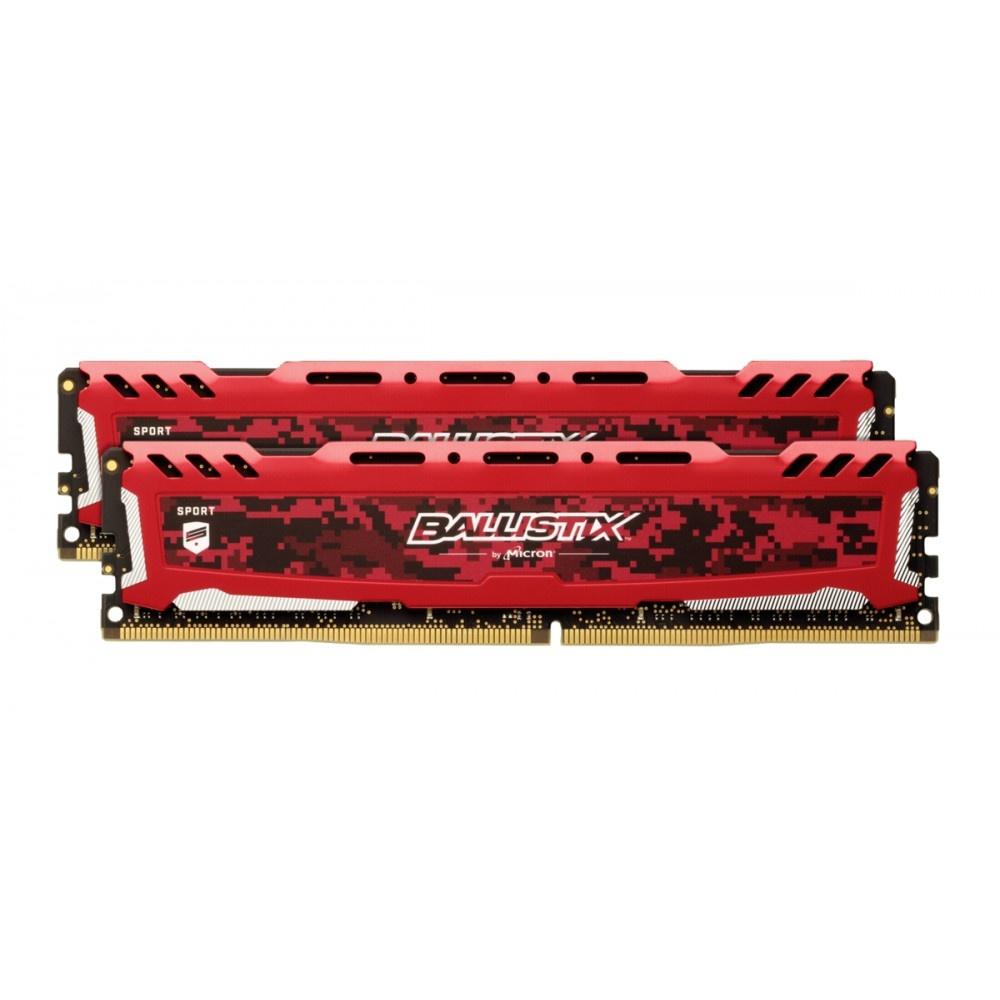Afbeelding van Ballistix Sport LT 16GB Kit DDR4 8GBx2 2666 DIMM 288pin rood SR