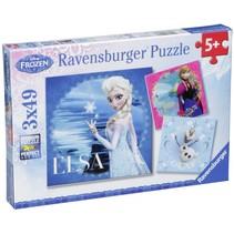 Elsa, Anna & Olaf 3 X 49 stukjes puzzel     Frozen