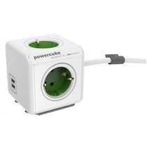 PowerCube Extended USB incl. 1,5 m kabel groen Type F