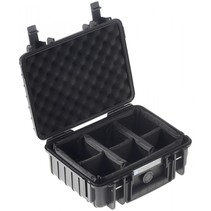 B&W Outdoor Case Type 1000 zwart met compartimenten