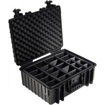 B&W Outdoor Case Type 6000 zwart met compartimenten