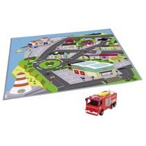 Brandweerman Sam speelmat  Stad  + speelauto